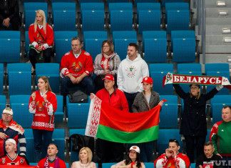 Жена и родители Ника Бэйлена поддерживают сборную Беларуси на ЧМ-2019